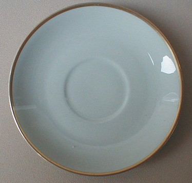Make sure your browser can show photos and reload this page to see Flintridge China San Marino - Grey, Gold Trim Saucer only