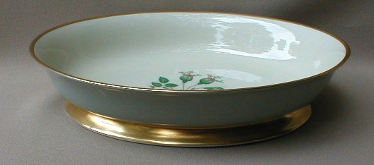 Make sure your browser can show photos and reload this page to see Flintridge China San Marino - Grey, Gold Trim Oval vegetable