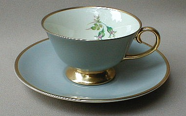 Make sure your browser can show photos and reload this page to see Flintridge China San Marino - Grey, Gold Trim Cup and saucer set