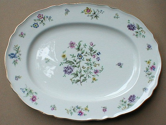 Make sure your browser can show photos and reload this page to see Franconia - Krautheim China Millefleurs Platter, medium 13 1/2