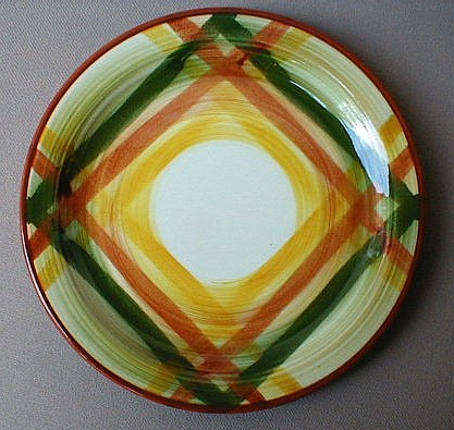 Make sure your browser can show photos and reload this page to see Metlox-Poppytrail-Vernon Pottery Homespun Bread and butter plate 6 1/4
