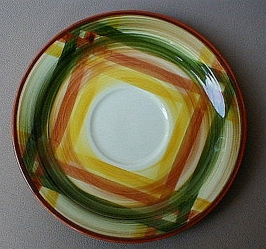 Make sure your browser can show photos and reload this page to see Metlox-Poppytrail-Vernon Pottery Homespun Saucer only