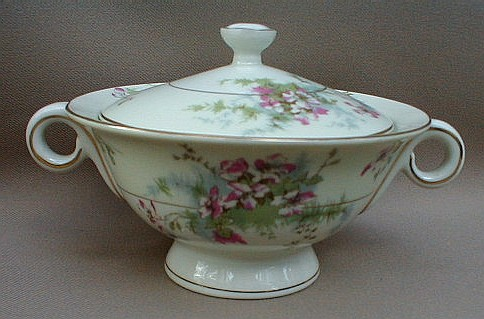 Make sure your browser can show photos and reload this page to see Haviland China Apple Blossom Sugar bowl with lid