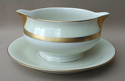 Make sure your browser can show photos and reload this page to see Haviland China Gotham Gravy-attached stand