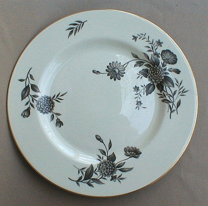 Make sure your browser can show photos and reload this page to see Pickard China Diana - Gray 1058 Dinner plate 10 3/4