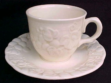 Make sure your browser can show photos and reload this page to see Metlox-Poppytrail-Vernon Pottery Antique Grape Cup and saucer set