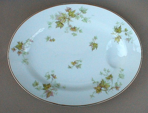 Make sure your browser can show photos and reload this page to see Haviland China Autumn Leaf Platter, small gold trim