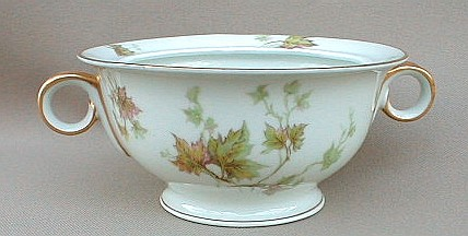 Make sure your browser can show photos and reload this page to see Haviland China Autumn Leaf Sugar bowl (no lid) gold trim
