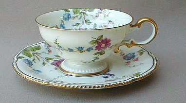 Make sure your browser can show photos and reload this page to see Castleton - USA China Sunnyvale  Cup and saucer set footed