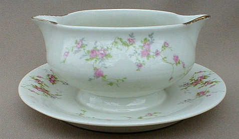 Make sure your browser can show photos and reload this page to see Haviland China Pink Spray Gravy-attached stand