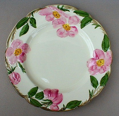 Make sure your browser can show photos and reload this page to see Franciscan China Desert Rose - USA  Luncheon plate 9 3/8