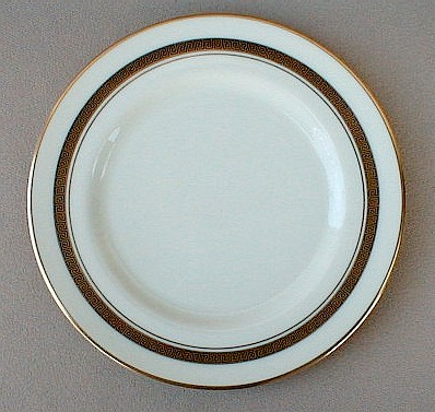 Make sure your browser can show photos and reload this page to see Flintridge China Grecian Key - No Color Band, Gold Trim, Rim Bread and butter plate 6 1/4