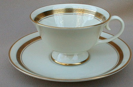Make sure your browser can show photos and reload this page to see Flintridge China Grecian Key - No Color Band, Gold Trim, Rim Cup and saucer set 2 1/4