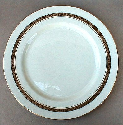 Make sure your browser can show photos and reload this page to see Flintridge China Grecian Key - No Color Band, Gold Trim, Rim Dinner plate 10 3/4