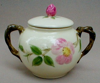Make sure your browser can show photos and reload this page to see Franciscan China Desert Rose - USA  Sugar bowl with lid