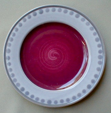 Make sure your browser can show photos and reload this page to see Epoch Dinnerware Potter's Art E902 Salad plate maroon center