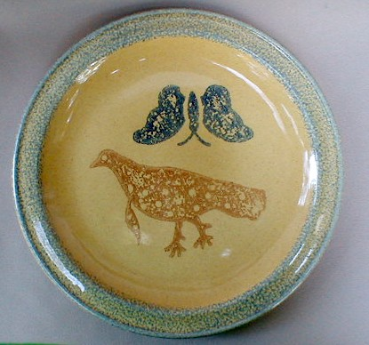 Make sure your browser can show photos and reload this page to see Pfaltzgraff China America Charger/Service Plate partridge-12 1/4