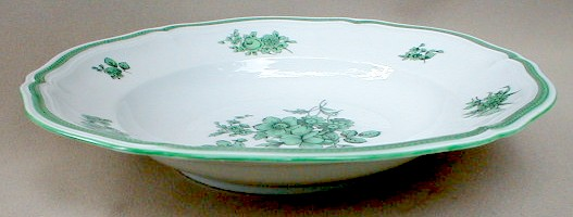 Make sure your browser can show photos and reload this page to see Rosenthal - Continental China Green Bloom Soup bowl, rim shape (chippendale shape-green flowers, green trim, 084B)