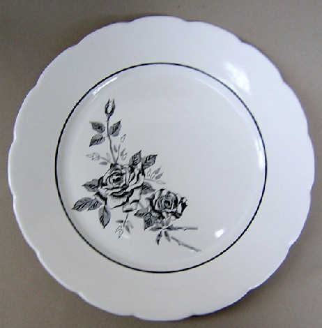 Make sure your browser can show photos and reload this page to see Lenox China Ebony Rose Dinner plate 10 1/2