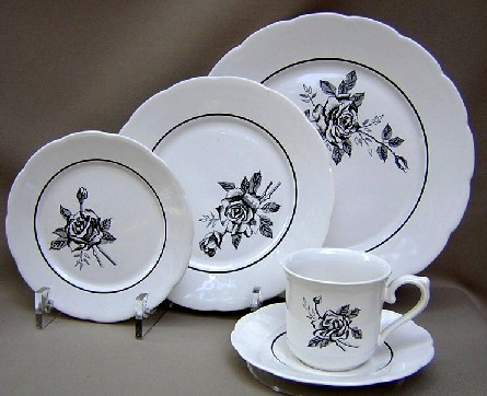Make sure your browser can show photos and reload this page to see Lenox China Ebony Rose Place setting 5-piece  Includes: dinner, salad, bread