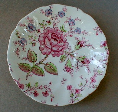 Make sure your browser can show photos and reload this page to see Johnson Brothers Dinnerware  Rose Chintz-Pink Saucer only (pink backstamp) 5 3/4