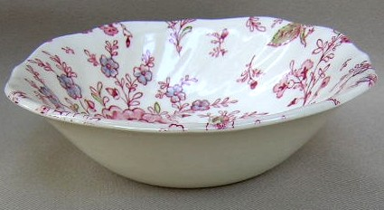 Make sure your browser can show photos and reload this page to see Johnson Brothers Dinnerware  Rose Chintz-Pink Cereal bowl, square  (black backstamp) 6 3/8