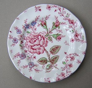 Make sure your browser can show photos and reload this page to see Johnson Brothers Dinnerware  Rose Chintz-Pink Bread and butter plate (green backstamp) 6 1/4: