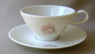 Make sure your browser can show photos and reload this page to see Iroquois Dinnerware Beige Rose - Informal Cup and saucer set 2 1/4
