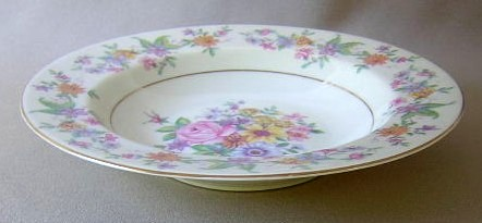 Make sure your browser can show photos and reload this page to see Haviland China Springtime Soup bowl, rim shape 7 3/4
