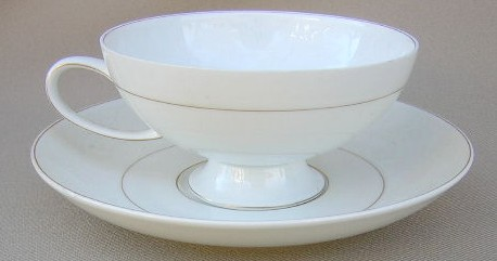 Make sure your browser can show photos and reload this page to see Rosenthal - Continental China White Velvet - Gold Trim Cup and saucer set 2 1/8
