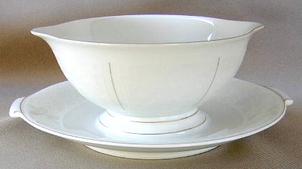 Make sure your browser can show photos and reload this page to see Rosenthal - Continental China White Velvet - Gold Trim Gravy-attached stand