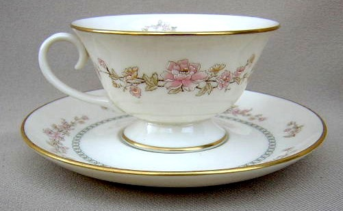 Make sure your browser can show photos and reload this page to see Gorham China Camellia - Pink, Yellow Cup and saucer set 3 3/4