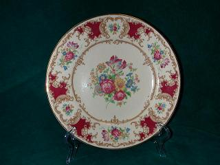 Make sure your browser can show photos and reload this page to see Syracuse China Romance - Maroon Salad plate -8