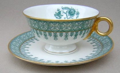 Make sure your browser can show photos and reload this page to see Haviland China Cambridge Cup and saucer set green