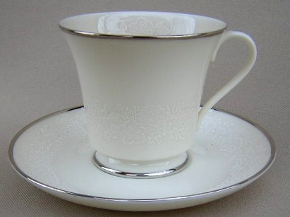 Make sure your browser can show photos and reload this page to see Gorham China Bridal Bouquet Cup and saucer set (Cream color)