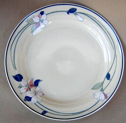 Make sure your browser can show photos and reload this page to see Epoch Dinnerware Apple Blossom E941, Smooth Edge Salad plate 7 1/2