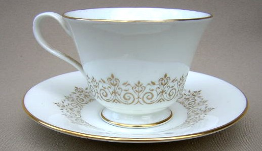 Make sure your browser can show photos and reload this page to see Oxford (Div Of Lenox) China Petit Point Cup and saucer set 2 3/4