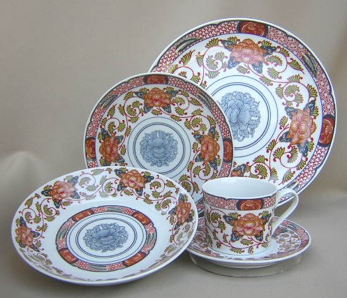 Make sure your browser can show photos and reload this page to see Briard, Georges China Peony  Place setting 5-piece   (dinner, salad, soup, cup & saucer)