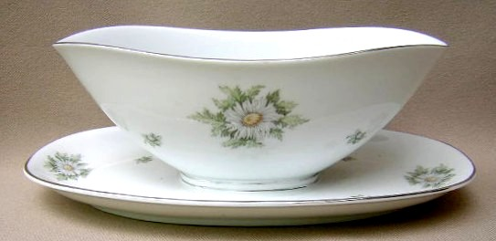 Make sure your browser can show photos and reload this page to see Franconia - Krautheim China Silver Thistle Gravy-attached stand