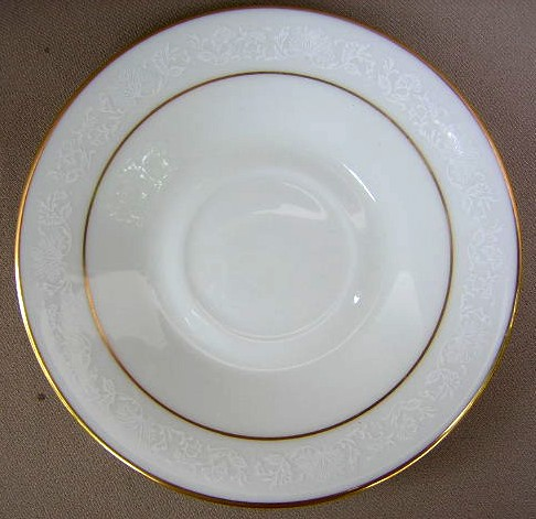 Make sure your browser can show photos and reload this page to see Oxford (Div Of Lenox) China White Lace Saucer only