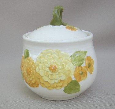 Make sure your browser can show photos and reload this page to see Metlox-Poppytrail-Vernon Pottery Sculptured Zinnia Sugar bowl with lid