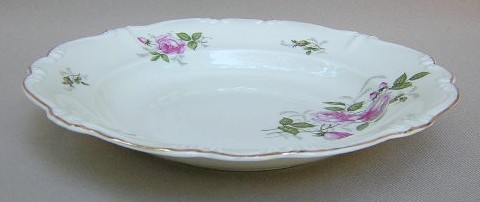Make sure your browser can show photos and reload this page to see Rosenthal - Continental China Courtship Soup bowl, rim shape (pompadour shape); 8 1/2