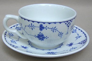 Make sure your browser can show photos and reload this page to see Furnival Stoneware Denmark-Blue  Cup and saucer set