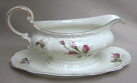 Make sure your browser can show photos and reload this page to see Rosenthal - Continental China Moss Rose - Ivory - Pompadour Gravy-attached stand