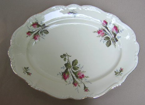 Make sure your browser can show photos and reload this page to see Rosenthal - Continental China Moss Rose - Ivory - Pompadour Platter, small 13