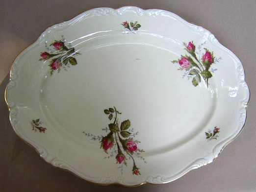 Make sure your browser can show photos and reload this page to see Rosenthal - Continental China Moss Rose - Ivory - Pompadour Platter, medium 15