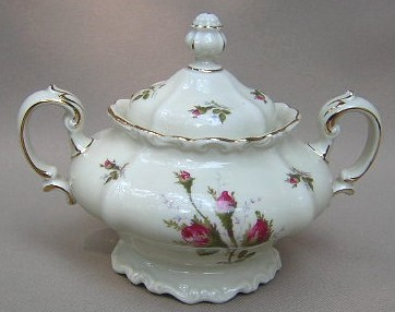 Make sure your browser can show photos and reload this page to see Rosenthal - Continental China Moss Rose - Ivory - Pompadour Sugar bowl with lid