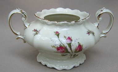 Make sure your browser can show photos and reload this page to see Rosenthal - Continental China Moss Rose - Ivory - Pompadour Sugar bowl (no lid)