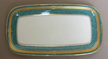 Make sure your browser can show photos and reload this page to see Oscar De La Renta China Baronesse-Teal L2353 Butter tray 7 7/8