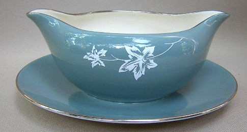 Make sure your browser can show photos and reload this page to see Flintridge China Misty Leaf - Strata Blue, Platinum Trim, Rim Gravy-attached stand